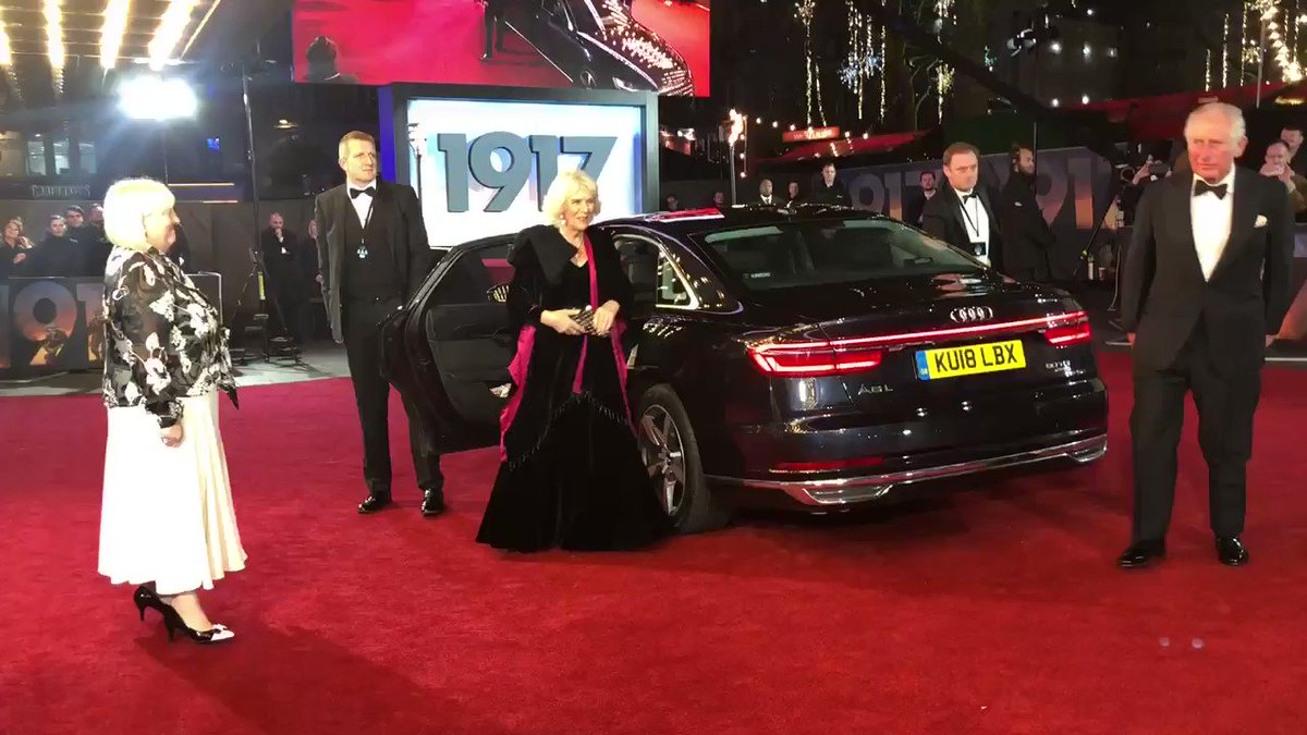 The Prince of Wales and Duchess of Cornwall arrive for the world premiere of @1917FilmUK, a Royal Film Performance in aid of the @FilmTVCharity: