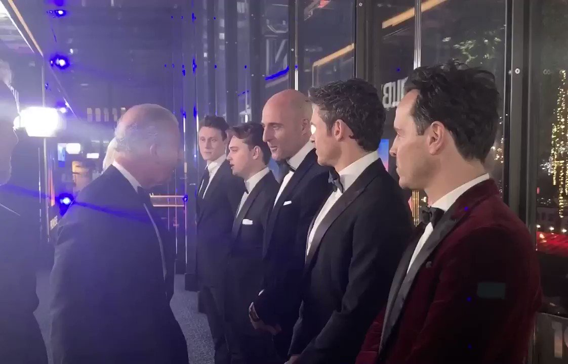 This evening at the @1917FilmUK Royal Film Performance, director Sam Mendes introduces Their Royal Highnesses to actors in the film, including Mark Strong, @_richardmadden and Andrew Scott.