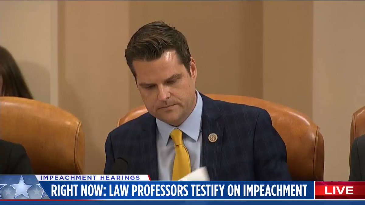 So Matt Gaetz tries to catch Professor Feldman in a gotcha moment and ends up allowing him to make an even more convincing case for Trump's impeachment.  Gaetz is so incredibly bad at this.