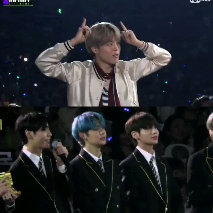 Look at their priceless reactions when they saw their BTS Jimin sunbaenim doing dance gestures from crown in the screen😂😂😭@TXT_members @TXT_bighit @BTS_twt