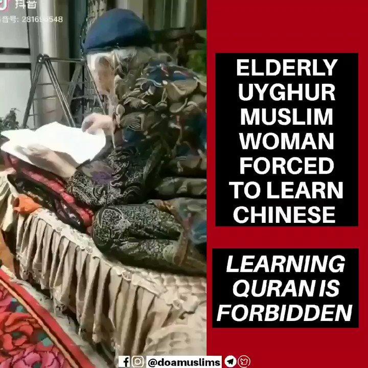 Elderly #Uyghur Muslim woman forced to learn Chinese...Uyghur Language is Banned#Arabic is BannedReading the #Quran is Banned#Uyghurs #EastTurkestan #Xinjiang #China