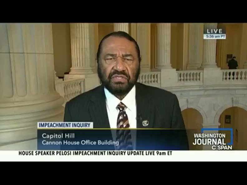 Dem Rep Al Green: no limit to the number of times Dems will try to impeach youtu.be/ybt7xAZ_MpE