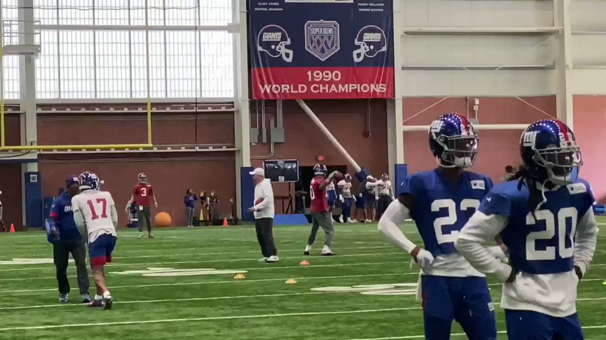 Daniel Jones rode the exercise bike like he was in a race, while wearing a boot. Evan Engram was back. So was Corey Ballentine and Golden Tate. #Giants #Eagles