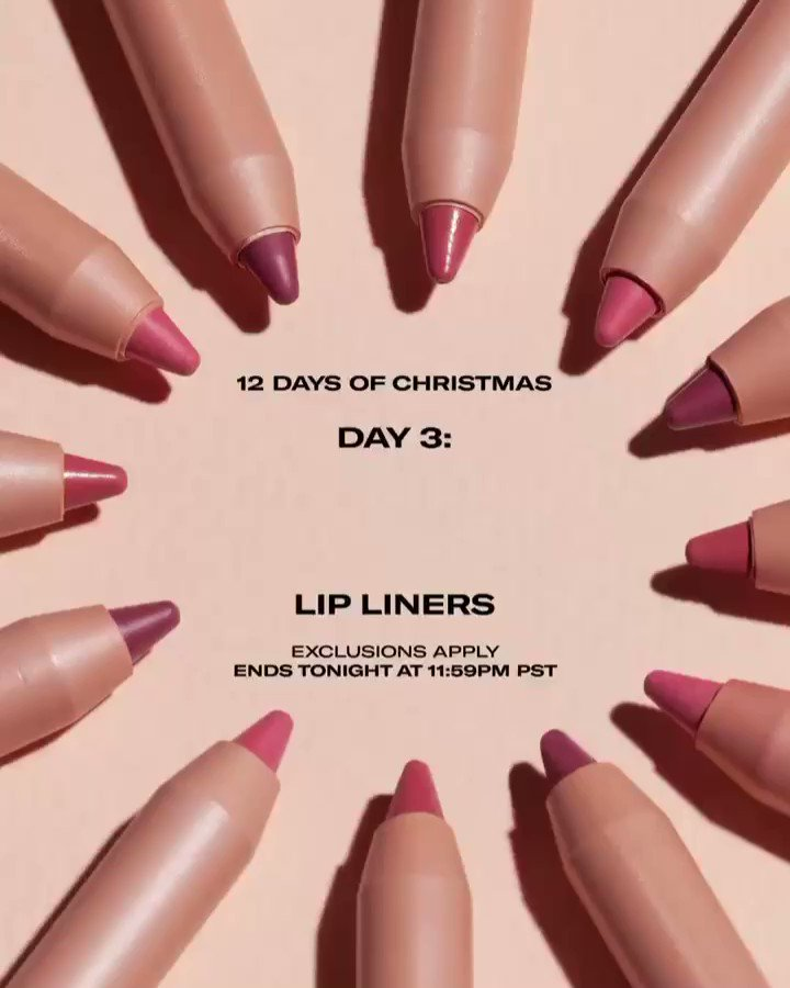 12 Days of Christmas @kkwbeauty — Day 3: Buy One Get One FREE Lip Liners (exclusions apply) No code needed. Ends tonight at 11:59PM PST on http://KKWBEAUTY.COM and get free shipping on orders over $50!