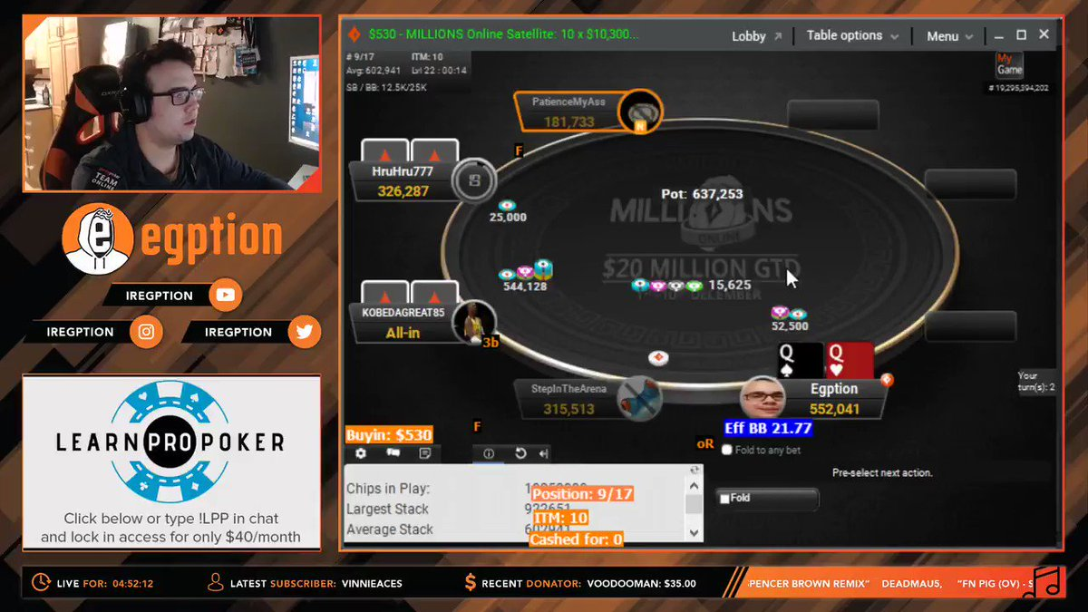 Couldn't let @MattStaplesPKR and @TJDarroch have all the fun with these $10,300 MILLIONS Online Sattys. How about a 70/30 for a 99.9% guaranteed seat? @partypoker @PPTeamOnline   🤠