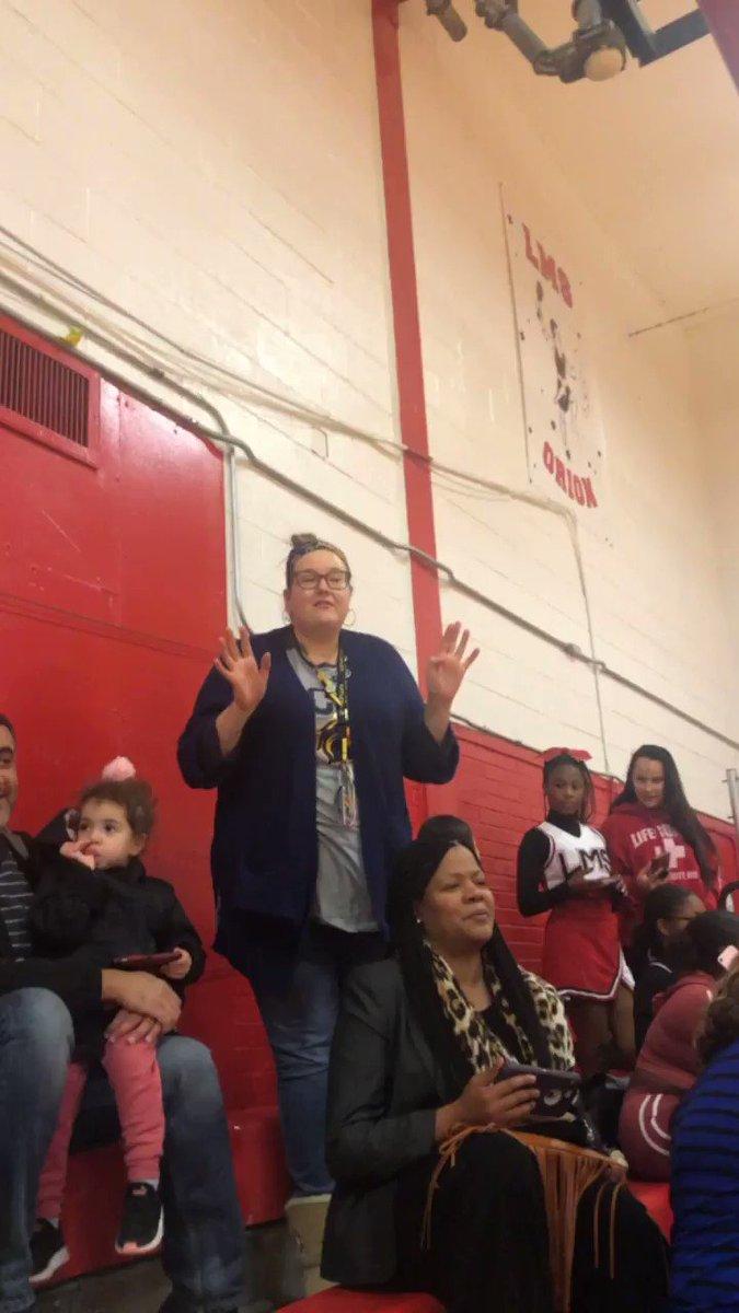 @MrsClineELA supporting the cheerleaders #heartwarm #hallmarkmoment