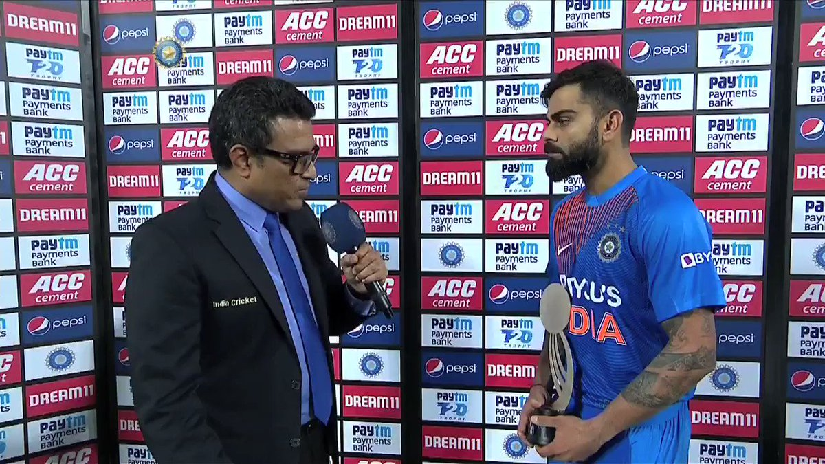 """.@imVkohli on being asked about the 'notebook celebration': """"Play hard but respect the opponent"""" 🙌🙌#INDvWI #SpiritOfCricket"""
