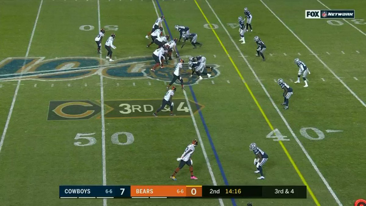 1. Mitch Trubisky had lots of big throws. A lesser one that caught my eye was this.  It's 3rd and 4. Mitch gets the snap and is looking to A-Rob first. Not there. Moves to Horsted next. Not there. Finally hits Cohen on outlet for the first.   Beautiful processing speed.  #Bears