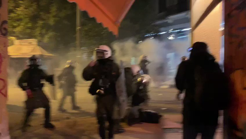 Local media says Greek riot police arrested at least ten so far during clashes in Exarchia. They also fired flash bangs, used water cannons, and drenched the neighborhood in tear gas.