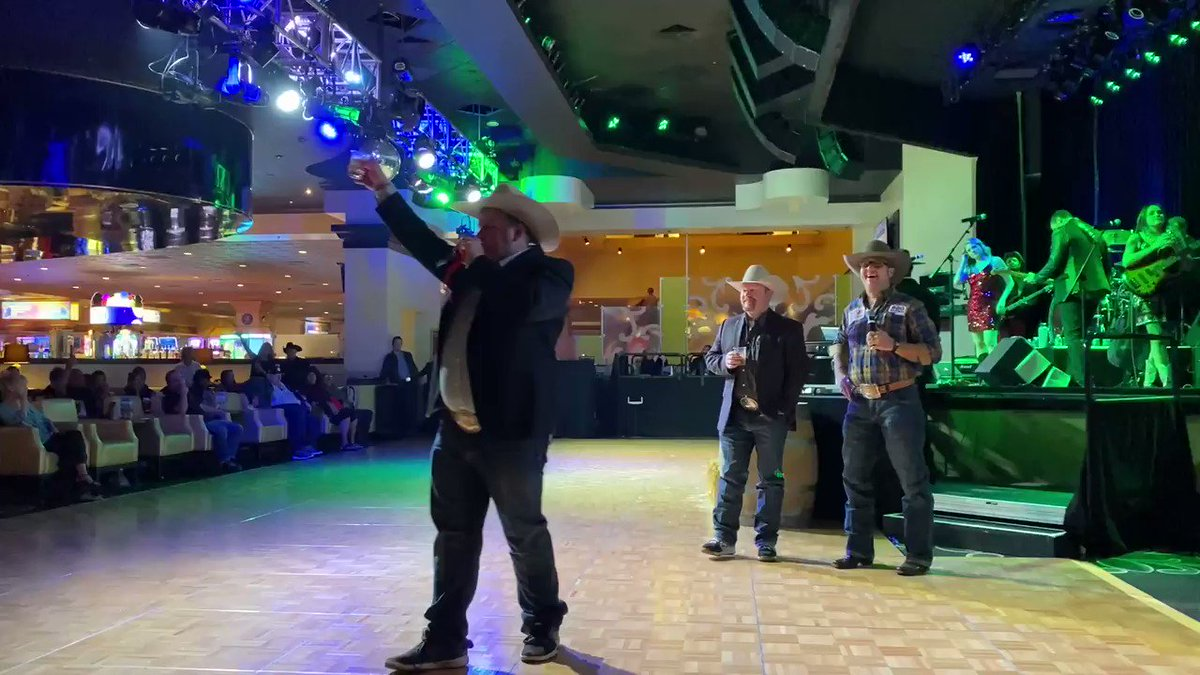 "Do you like dancing?! How about drink specials?! Buckin' Bash, hosted by Justin Rumford, at the @orleanscasino is where you want to be! Here was #NFR night number one's ""Toast of the Night"" #RidinForTheBrand https://t.co/ct99YRDTn3"