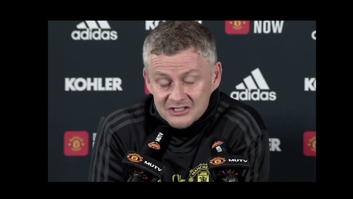 Fans on Solskjær: - Lowers expectations - Deluded & clueless - Glazer puppet - Lair - PE teacher at best. While the man is giving his soul to this club. He wants this club to succeed more than anyone else. The look he gave the journalist at the end says it all. #MUFC #MCIMUN