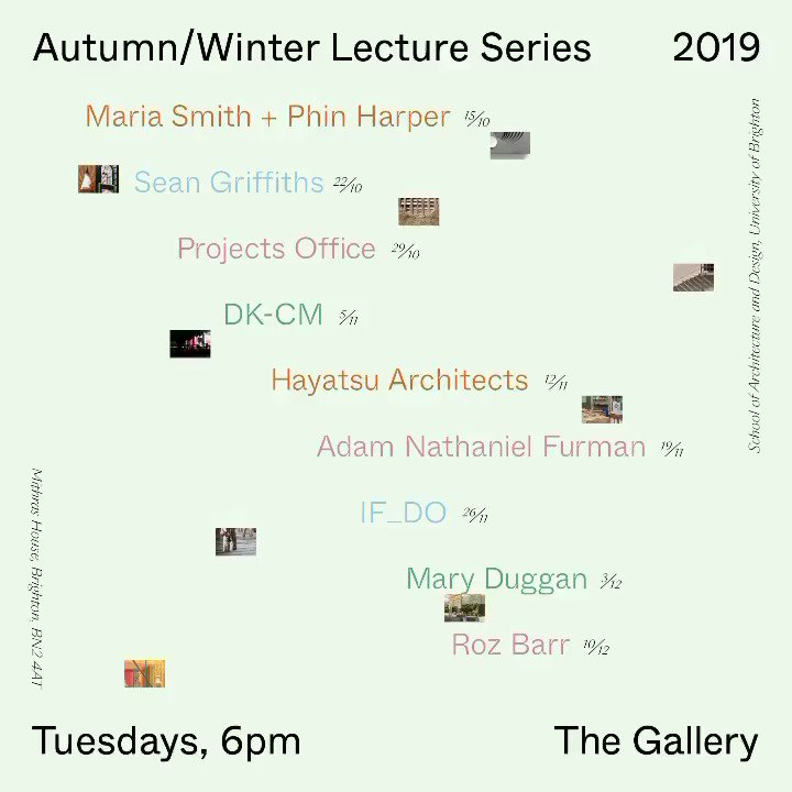 Unfortunately we have had to cancel our final lecture this term. But it has been a fantastic series. Thanks to all our brilliant speakers and to everyone who came. @uniofbrighton @artsbrighton @RIBASouthEast #SoAD