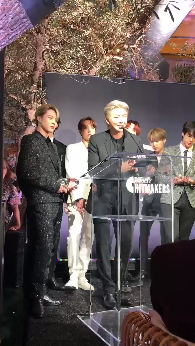 Joon talking about how music transcends barriers and plugging the upcoming album!! Telling everyone he's excited for them to see what @BTS_twt has to offer in 2020!!! Aaahh the way they keep excitedly bringing up the new album!! 😱👍 #BTS_Hitmakers