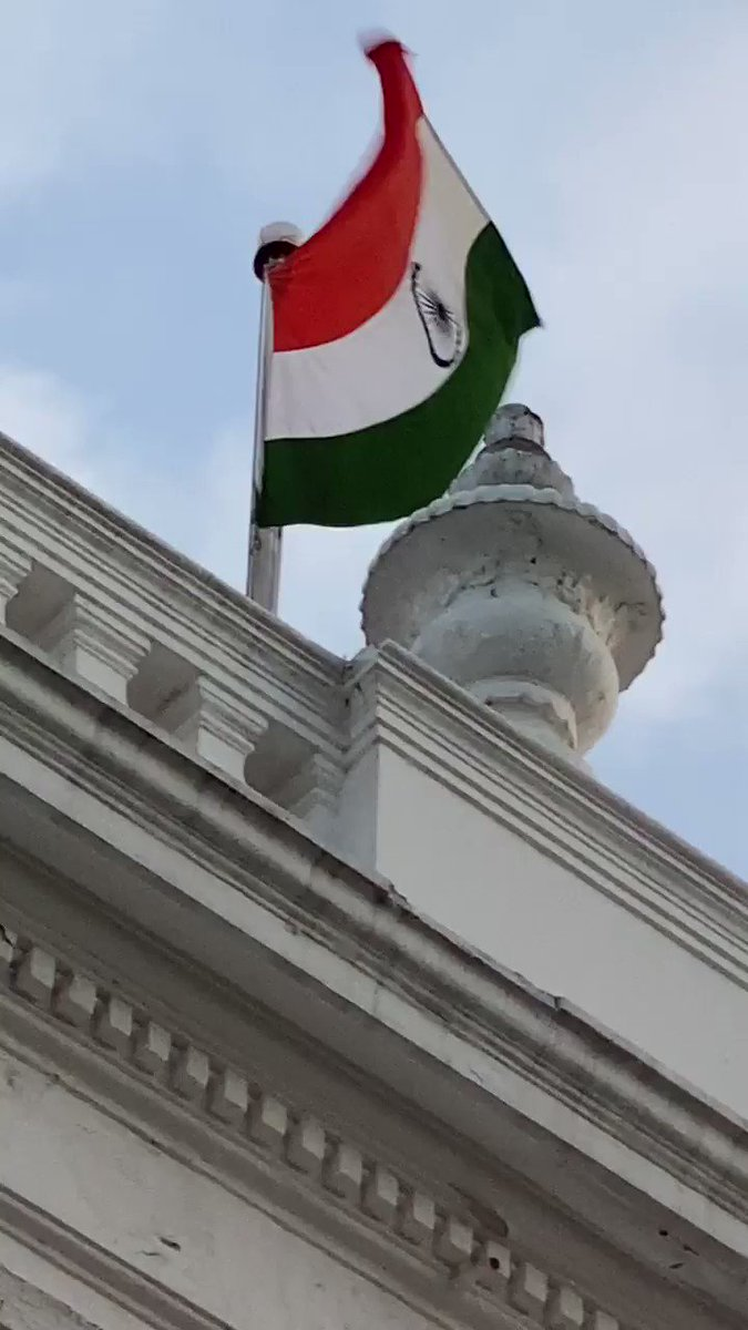 Recorded the flag flying high atop RajNivas this morning while on my morning walk below. (6.20AM)