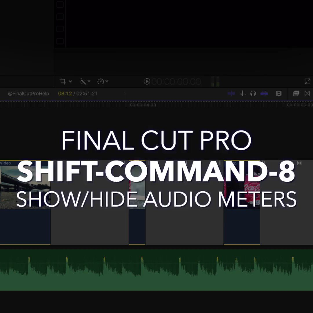 Replying to @FinalCutProHelp: Shift-Command-8    Show/Hide Audio Meters   Use this Final Cut Pro X shortcut to show or hide the audio meters.  Learn more at   #DailyShortcut #TipOfTheDay #FinalCutPro #FinalCutProX #FCPX #FilmMaking101 #Edi…