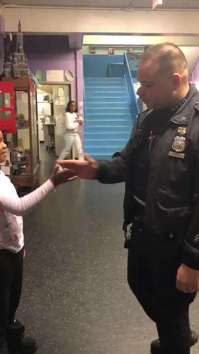 "This is Neighborhood Policing in action!  Neighborhood Coordination Officer Deangelis from @NYPDPSA8 knows the value of building strong relationships with members of the community, like 8-year-old Taliyah, who calls him ""Joey D"" and with whom she shares a special handshake with."