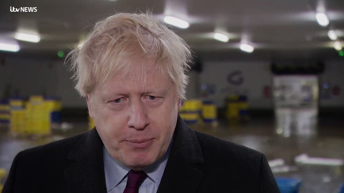 Tried to show @BorisJohnson the picture of Jack Williment-Barr. The 4-year-old with suspected pneumonia forced to lie on a pile of coats on the floor of a Leeds hospital. The PM grabbed my phone and put it in his pocket: @itvcalendar | #GE19