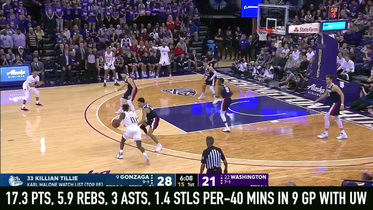 6-10 + 19-year-old #Washington F Jaden McDaniels unique physical tools were evident as he showed his shot making, passing + defensive potential in the #Huskies 83-76 loss to #Gonzaga with @Mike_Schmitz and a large contingent of @NBA scouts on hand in #Seattle