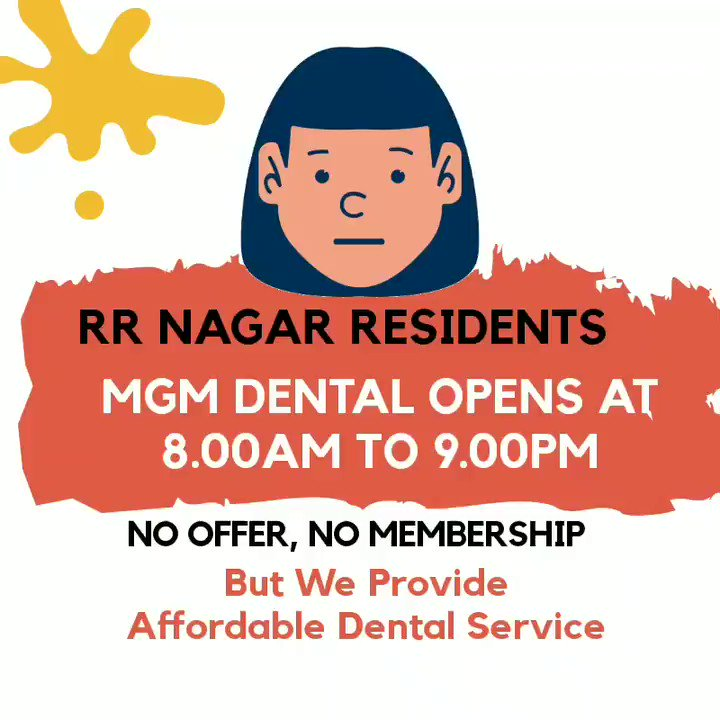 """Dear RR Nagar Residents - MGM Dental Timings are changed - We are Open From """"8.00am to 9.00pm"""" to serve better at your comfort time.  Call us to Book your slot on 7337 7337 24.  #dentist #loveteeth #Bangalore #rrnagar #rajarajeshwarinagar #bsk6thstage #Dentalservices #tooth"""