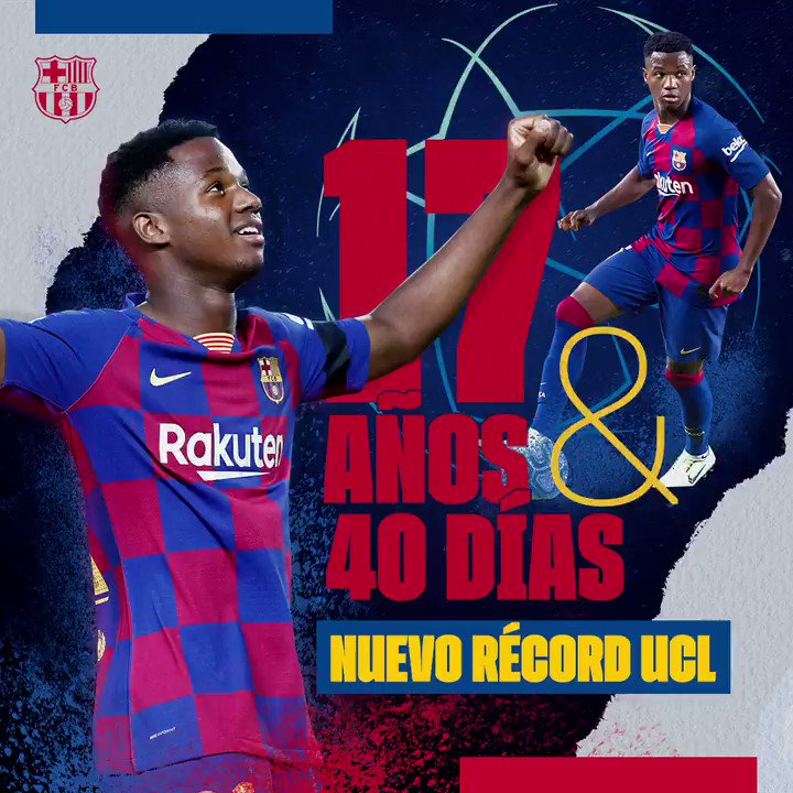 🔝👏@ANSUFATI se convierte en el goleador más joven de la historia de la @LigadeCampeones #InterBarça