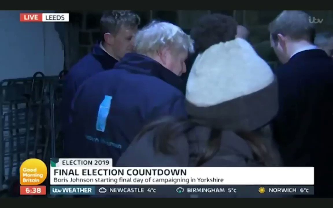Watch Boris Johnson hide in a fridge when challenged to appear on #GMB. #fridgegate #GE2019 #PoliticsLive #VictoriaLIVE #VoteTactically
