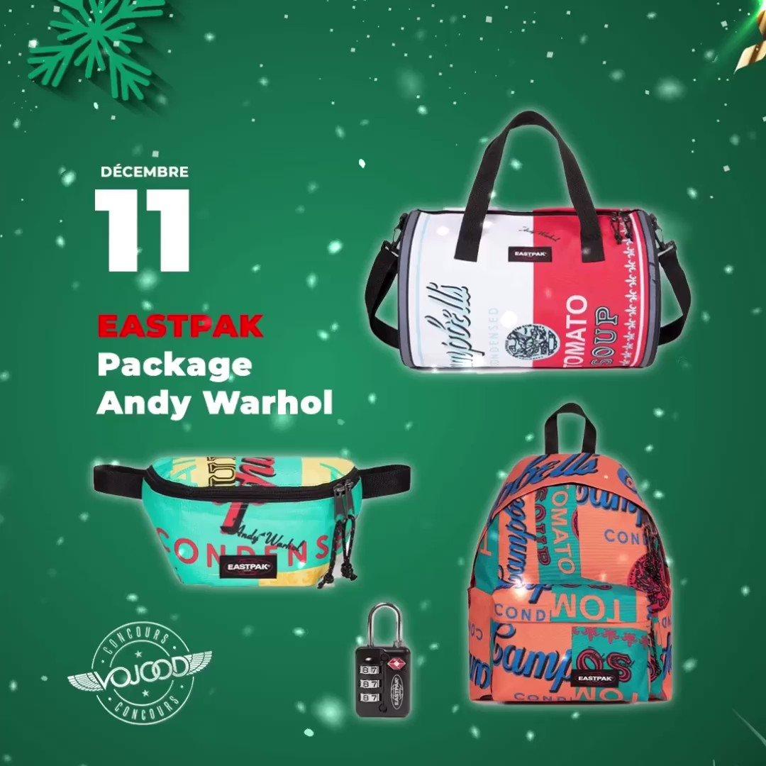 🎅🏼 11 Décembre 🎁 Participe et GAGNE ton pack @eastpak Collection Andy Warhol 🎉  Rendez-vous sur http://www.vojoodmedia.com  #calendrierdelavent #adventcalendar #raffle #concours #calendrierdelavent2019 #adventcalendar2019 #giveaway #lausanne #eastpak #bag #collection #andywarhol