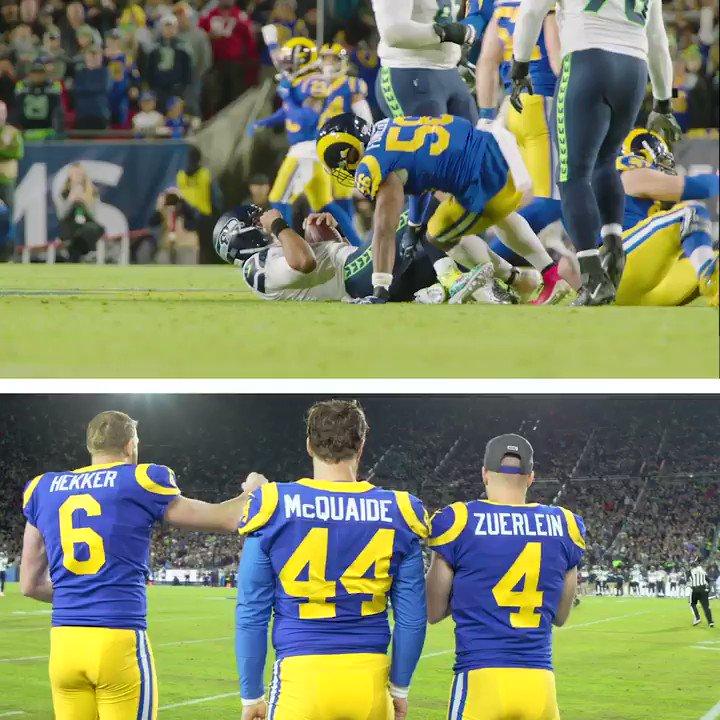 Hekker hitting the sack dance from the sideline 🔥😂 @JHekker @dantefowler   (via @RamsNFL)
