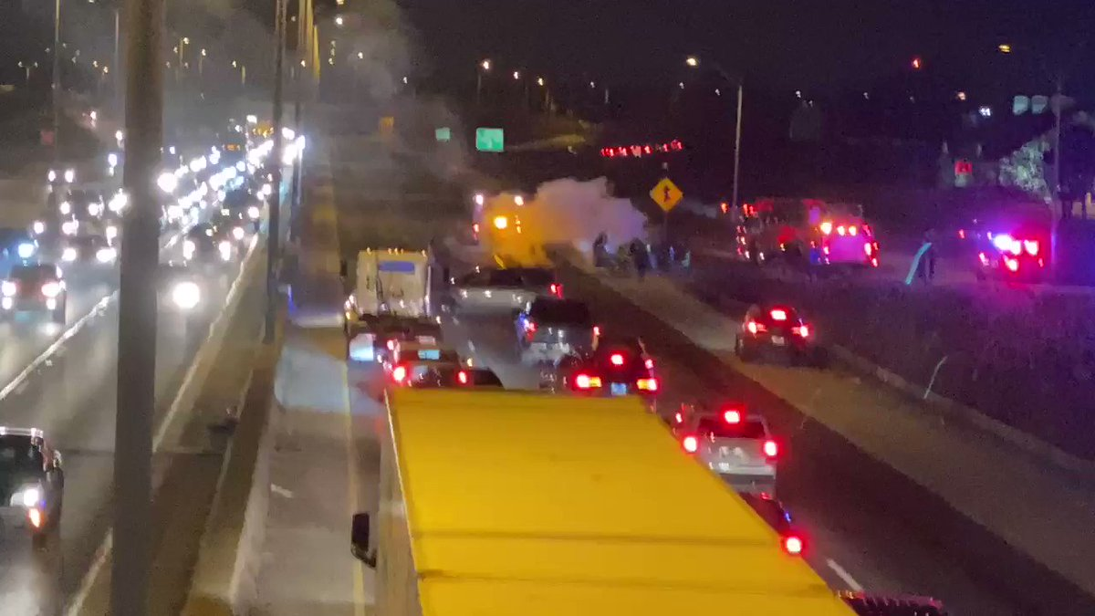 RIGHT NOW: Chicago Fire working apparent vehicle fire on the Bishop Ford. Police blocking Southbound lanes. Traffic currently backed up for miles. @cbschicago