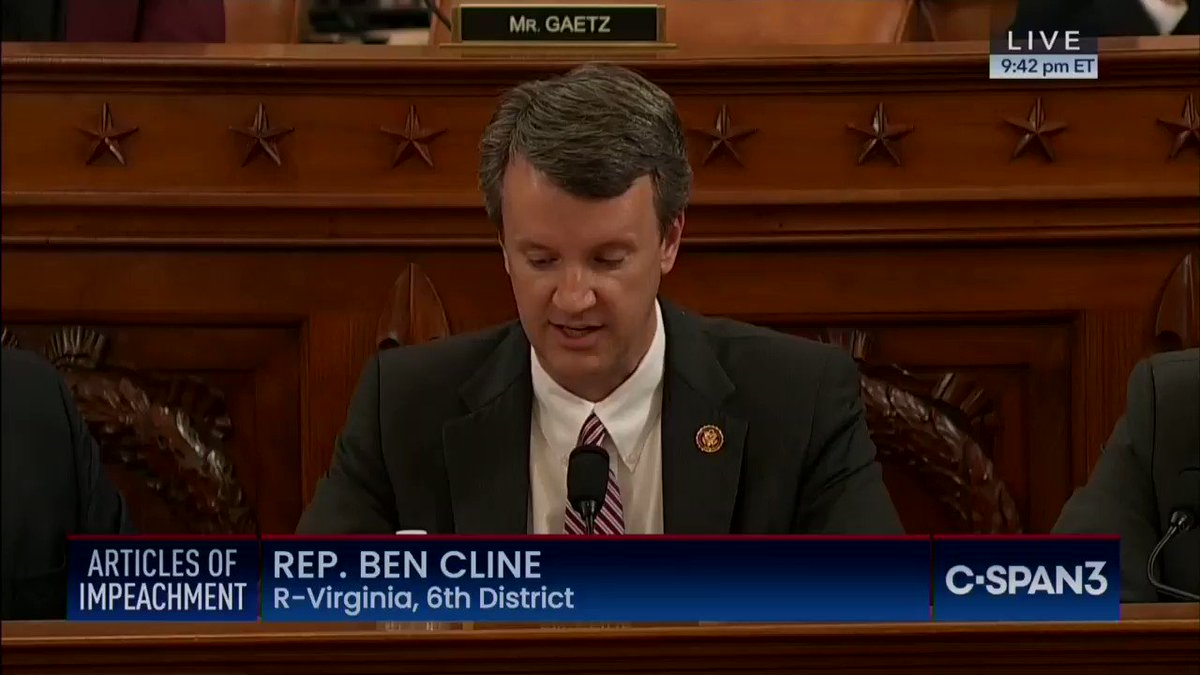 .@RepBenCline says Lt Col. Vindman merely testified to hearsay and speculation. This is a lie. Vindman was directly on the Trump-Zelensky call. He has first-hand knowledge. This is a ridiculous thing for Republicans to lie about but theyre doing it anyway.