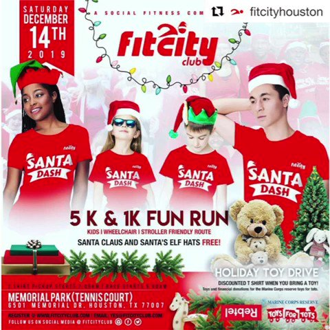 3 Days to Go ‼️ Are you ready for the Dash? ⁉️   Get your T-shirts now on    #fitcityclub #fitcityhouston #fitcitysantadash #santadash #run #walk #jog #dance #connect #holidayseason #santaclaus #christmasfun #houstonsantadash