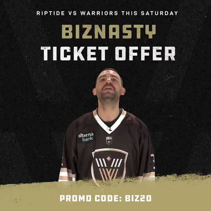 Replying to @nllwarriors: Use promo code BIZ20 & get your tickets to Saturday's game! 🥍  🎟