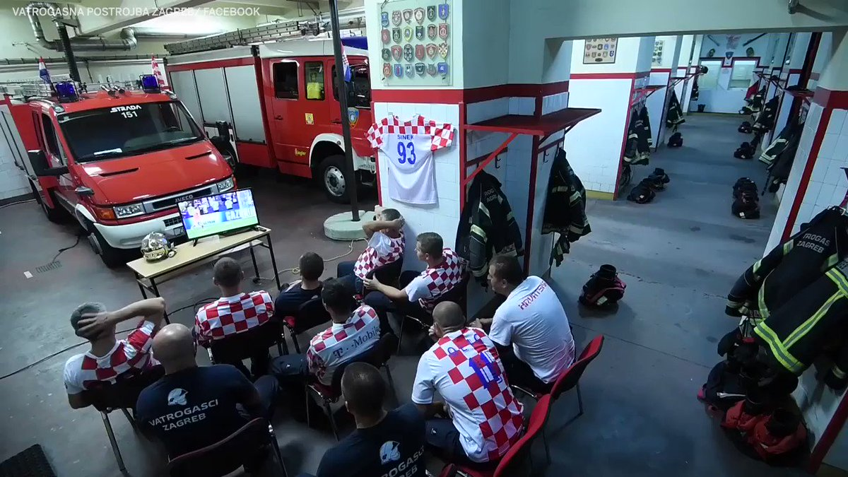 Fighting fire. Croatia. Football.  In that order.  (via VatrogasnaPostrojbaZagreb/Facebook)