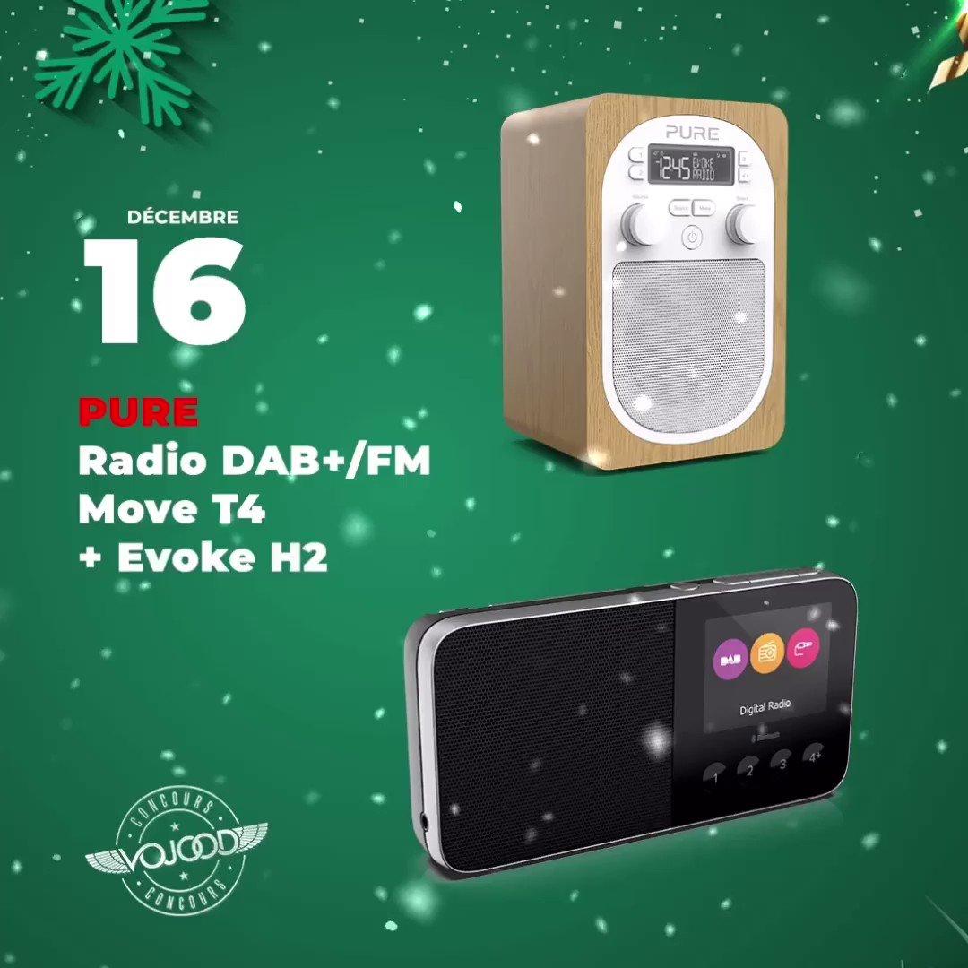🎅🏼 16 Décembre 🎁 Participe et GAGNE ton pack Radio @PureAudioWorld Move T4 + Evoke H2 🎉  Rendez-vous sur http://www.vojoodmedia.com  #calendrierdelavent #adventcalendar #raffle #concours #calendrierdelavent2019 #adventcalendar2019 #giveaway #lausanne #radio #DAB #pure