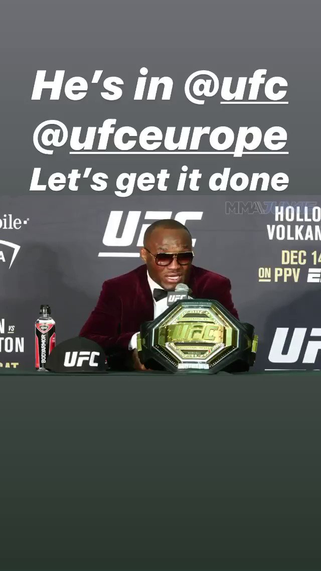 He's in let's get it done @ufc @UFCEurope #champion2020