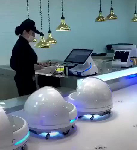 Image for the Tweet beginning: #Robotic server is serving Sushi