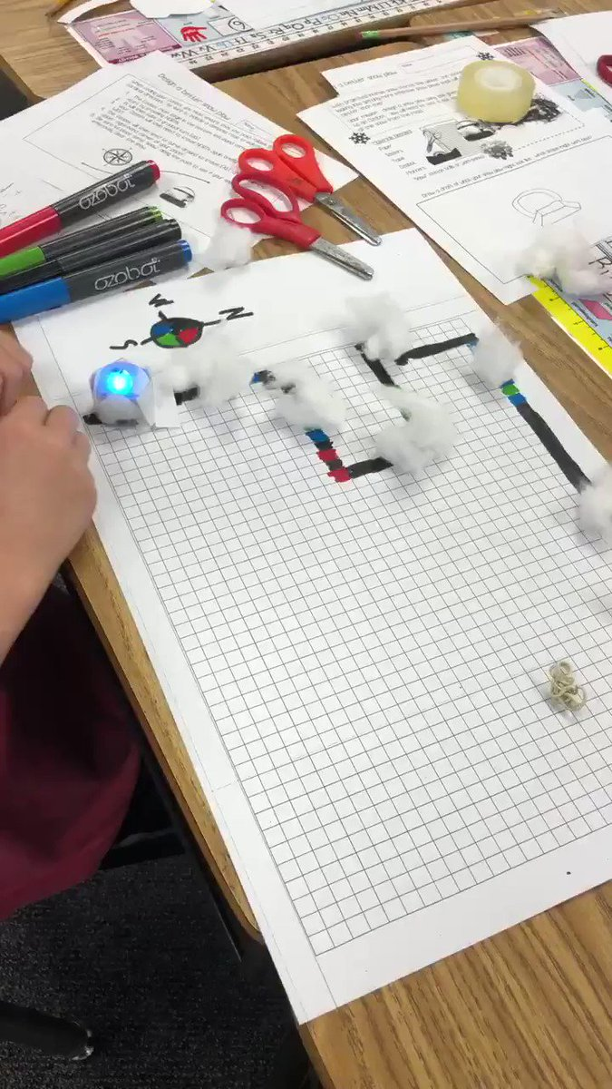 """2nd graders had a mission this afternoon- to design a snow plow that would effectively clear the """"snow"""" from the """"road""""  <a target='_blank' href='http://search.twitter.com/search?q=coding'><a target='_blank' href='https://twitter.com/hashtag/coding?src=hash'>#coding</a></a> <a target='_blank' href='http://search.twitter.com/search?q=ozobots'><a target='_blank' href='https://twitter.com/hashtag/ozobots?src=hash'>#ozobots</a></a> <a target='_blank' href='http://search.twitter.com/search?q=STEMeducation'><a target='_blank' href='https://twitter.com/hashtag/STEMeducation?src=hash'>#STEMeducation</a></a> <a target='_blank' href='http://twitter.com/APSGifted'>@APSGifted</a> <a target='_blank' href='http://search.twitter.com/search?q=hfbtweets'><a target='_blank' href='https://twitter.com/hashtag/hfbtweets?src=hash'>#hfbtweets</a></a> <a target='_blank' href='https://t.co/Yw2UkgHuZI'>https://t.co/Yw2UkgHuZI</a>"""