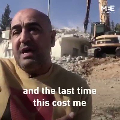 🇵🇸🇵🇸🇵🇸 Un palestinien handicapé a vu sa maison démolie par l'occupant Israël a Jérusalem, pour la quatrième fois en 20 ans. En ce vendredi qu'ALLAH vienne en aide au peuple Palestinien ainsi qu'à tout les peuples   Opprimés 🙏🏾🙏🏻🙏🏿