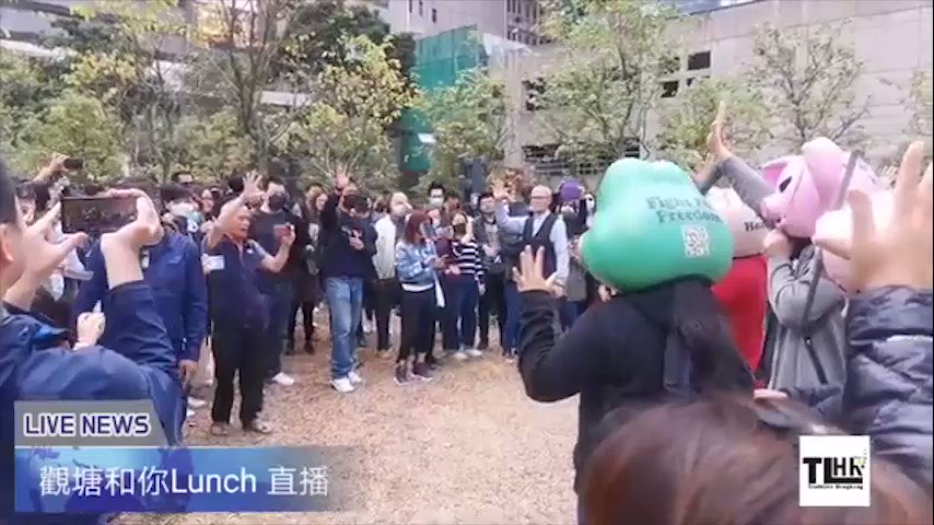"Today is National Mask Day. Initiated by netizens,over a hundred people gathered in #KwunTong for ""Let's Lunch & Fold Together & #pepeFrog #Lihkgpig Mask Exhibition."" Event organisers hope to remind all of #HongKong's #FightForFreedom during the past 6 months & #Lihkgpig's story.pic.twitter.com/JpqADrMtjl"