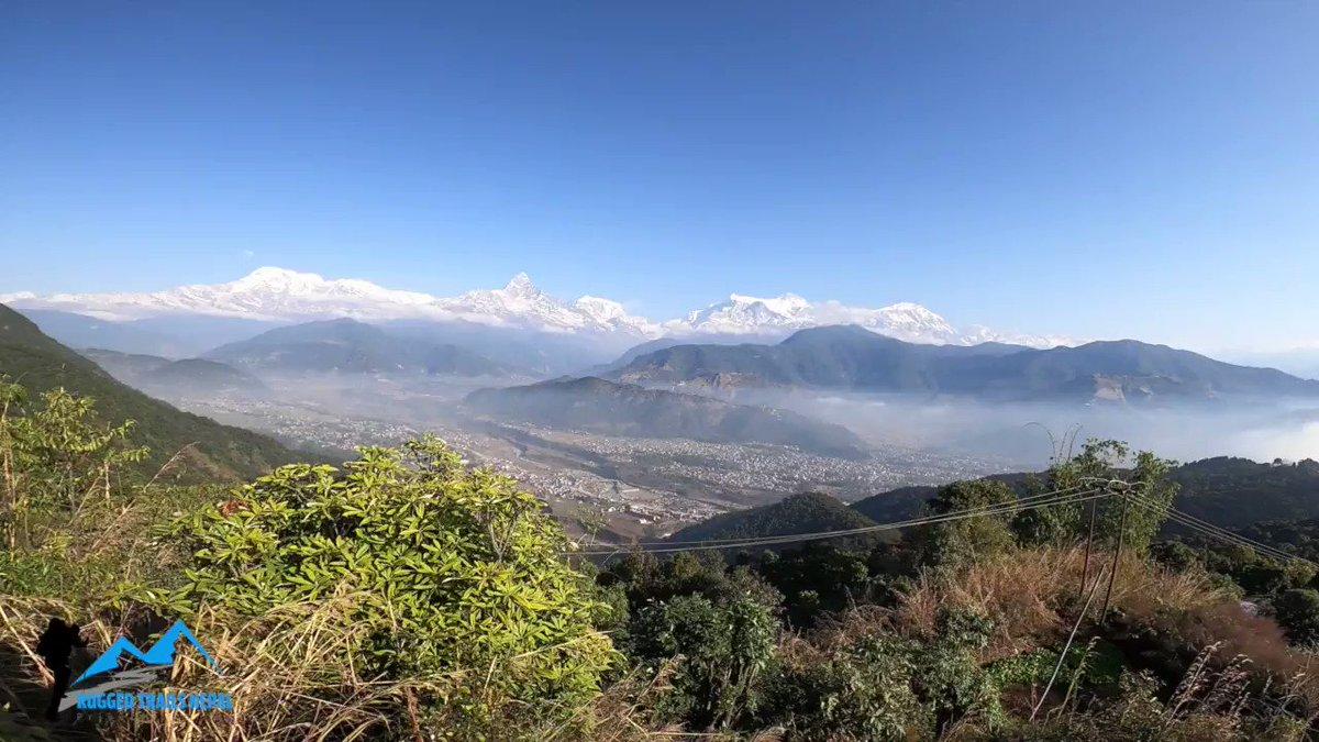 Beautiful morning view from Sarangkot, Pokhara Nepal.Check things to do in Pokhara, #thingstodoinpokhara https://www.ruggedtrailsnepal.com/blog/things-to-do-in-pokhara-top-9-things-to-see-in-pokhara.html…#Nepal #pokhara #mountains #visitnepal2020 #kathmandu #ruggedtrailsnepal #hikewithusinnepal #Travel #hike #himalayas