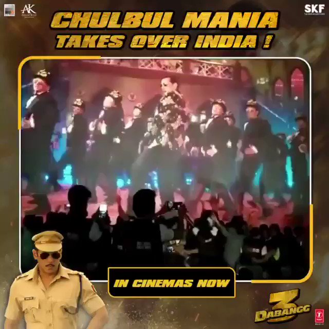 Chulbul mania spreads like wildfire all over India! #Dabangg3InCinemas  Book Tickets Now On: BMS -  Paytm -   @BeingSalmanKhan @arbaazSkhan @sonakshisinha @saieemmanjrekar @PDdancing @KicchaSudeep @Nikhil_Dwivedi @SKFilmsOfficial