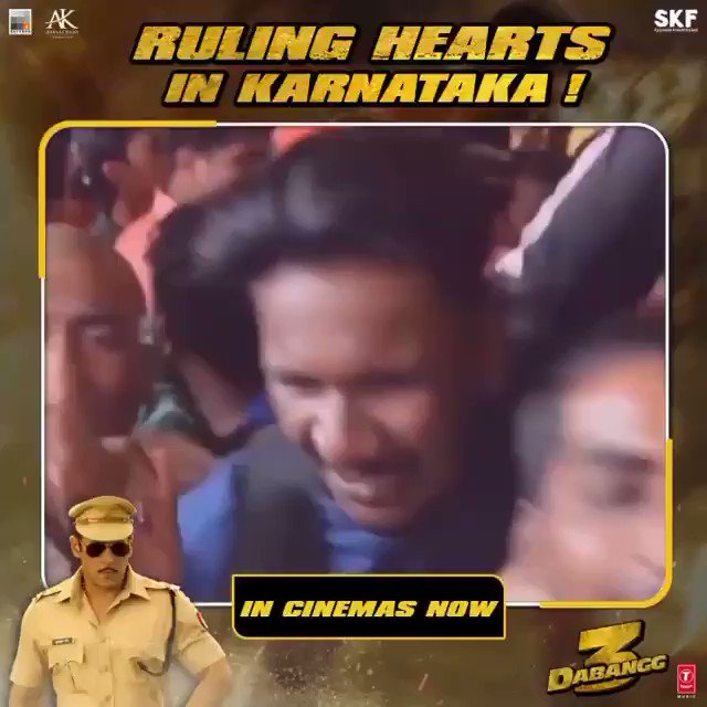 Ruling hearts in Karnataka! #Dabangg3InCinemas  Book Tickets Now On: BMS -  Paytm -   @BeingSalmanKhan @arbaazSkhan @sonakshisinha @saieemmanjrekar @PDdancing @KicchaSudeep @Nikhil_Dwivedi @SKFilmsOfficial