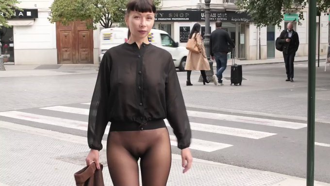 That day I walked the streets  wearing seamless #pantyhose and a sheer blouse... Get full video on https://t