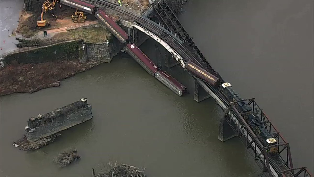 Freight train derails and falls into Potomac River near Harpers Ferry, W.Va.