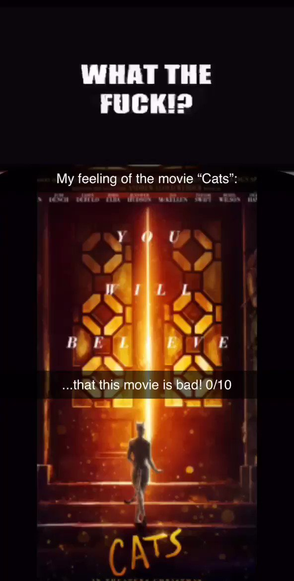 """@2gay2lift you know my thoughts on """"Cats""""?:"""
