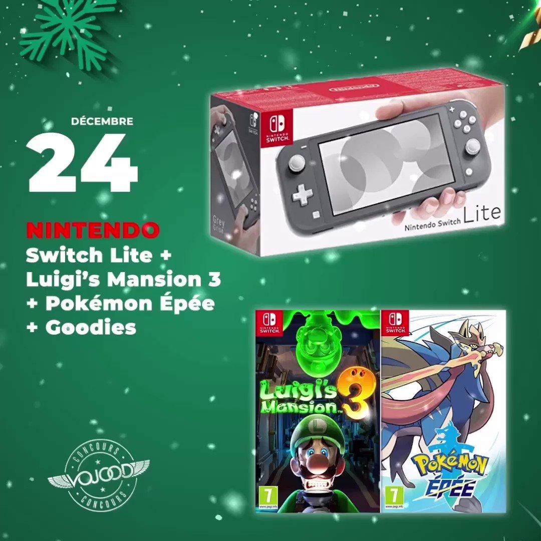 🎅🏼 24 Décembre 🎁 Participe et GAGNE ton pack @NintendoFrance Switch Lite + Jeux 🎉  Rendez-vous sur http://www.vojoodmedia.com  #calendrierdelavent #adventcalendar #raffle #concours #calendrierdelavent2019 #adventcalendar2019 #nintendo #nintendoswitch #pokemon #luigi