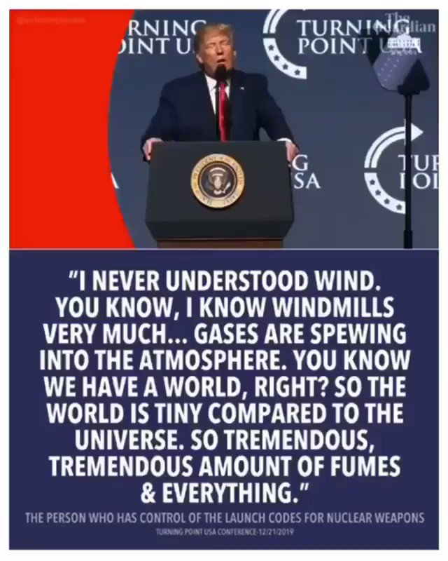 #Idiot  #wtf2019  #WindmillFumes  This guy actually has access to nuclear launch codes. Fortunately, the preprogrammed targets are all his buddies or his idols! We are safe for the holidays! Phew! pic.twitter.com/Zw4rRCtiVr