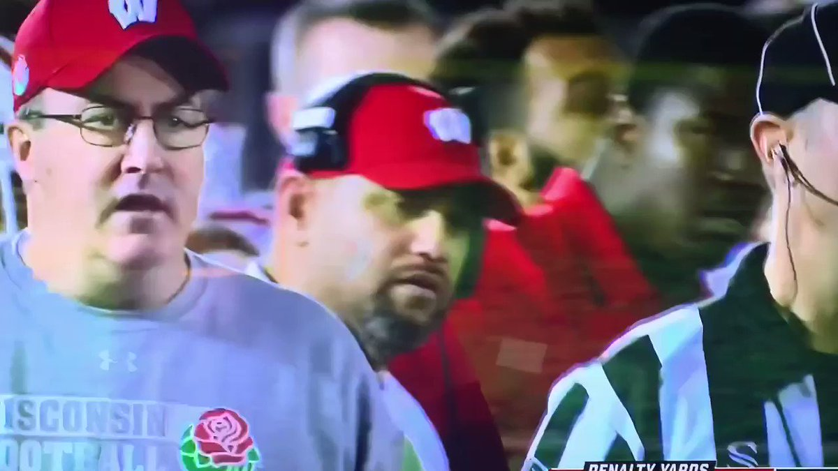 """Official statement from Paul Chryst: """"That's a big ass call that you just got wrong"""". #RoseBowl #Wisconsin"""
