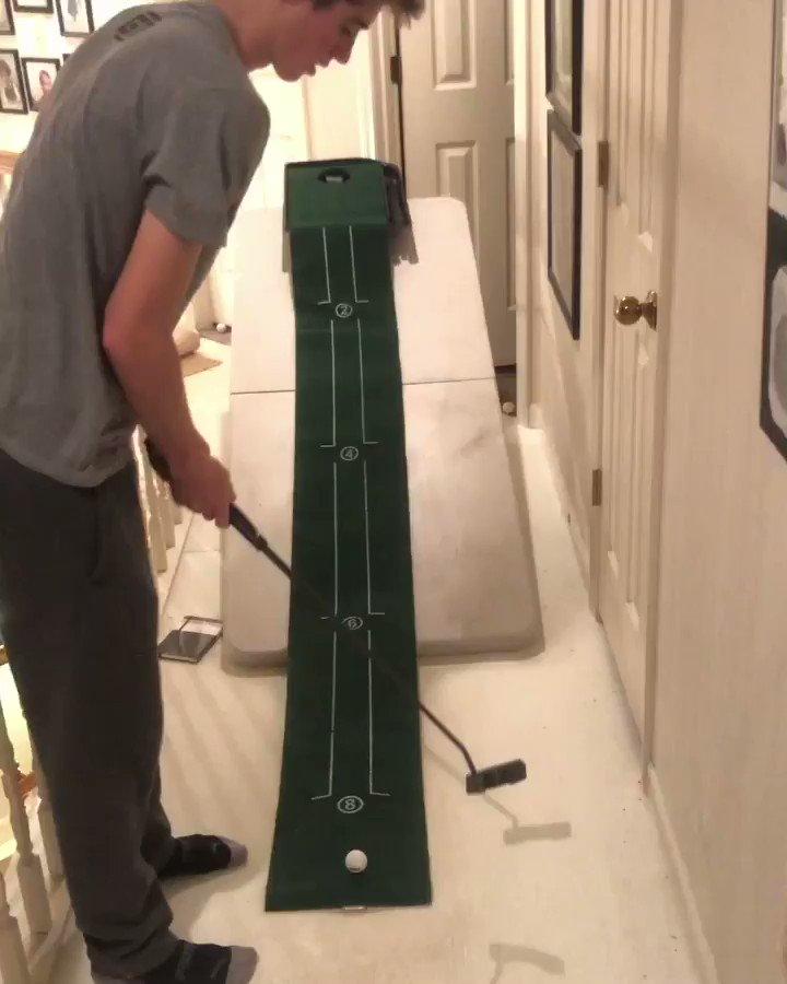 Behold the greatest golf trick shot/beer pong setup ever