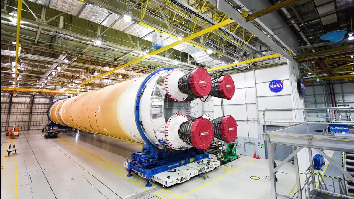 """We are ready to roll out the 1st @NASA_SLS core stage from the #NASAMichoud Assembly Facility in New Orleans. It will go by barge to @NASAStennis in Mississippi for hot-fire testing.  As they would say in New Orleans, """"Laisse la fusée rouler!"""" – """"Let the rocket roll!"""" #Artemis https://t.co/LBBj112gf5"""