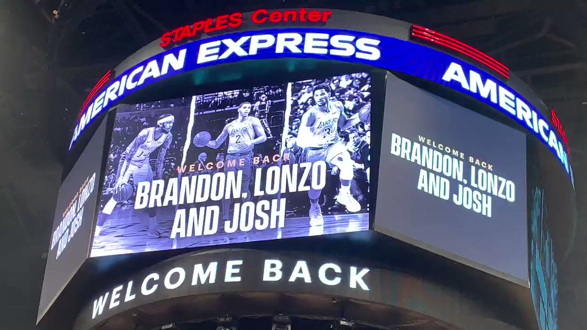 Lakers welcome back Brandon Ingram, Lonzo Ball and Josh Hart with a video